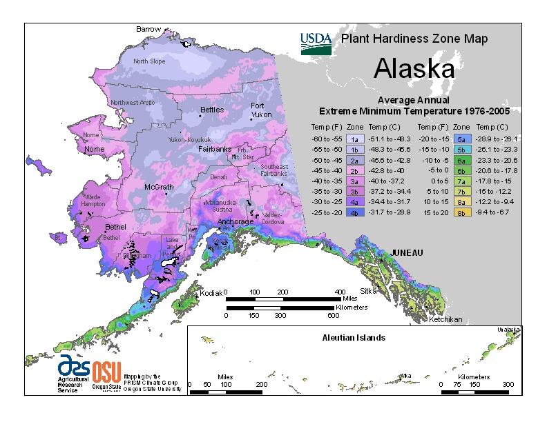 Alaska (AK) USDA Zone Map