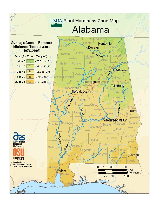 Alabama (AL) USDA Zone Map