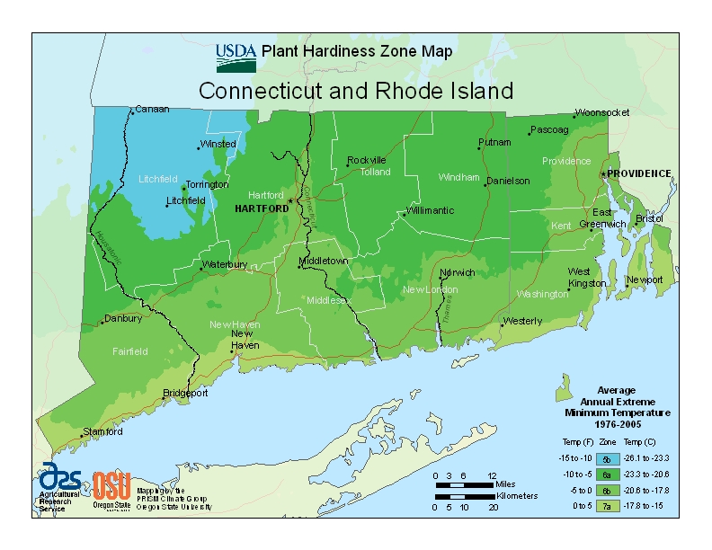 Connecticut (CT) USDA Zone Map