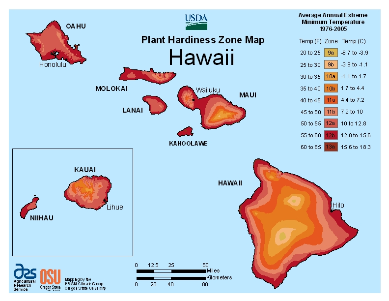Hawaii (HI) USDA Zone Map
