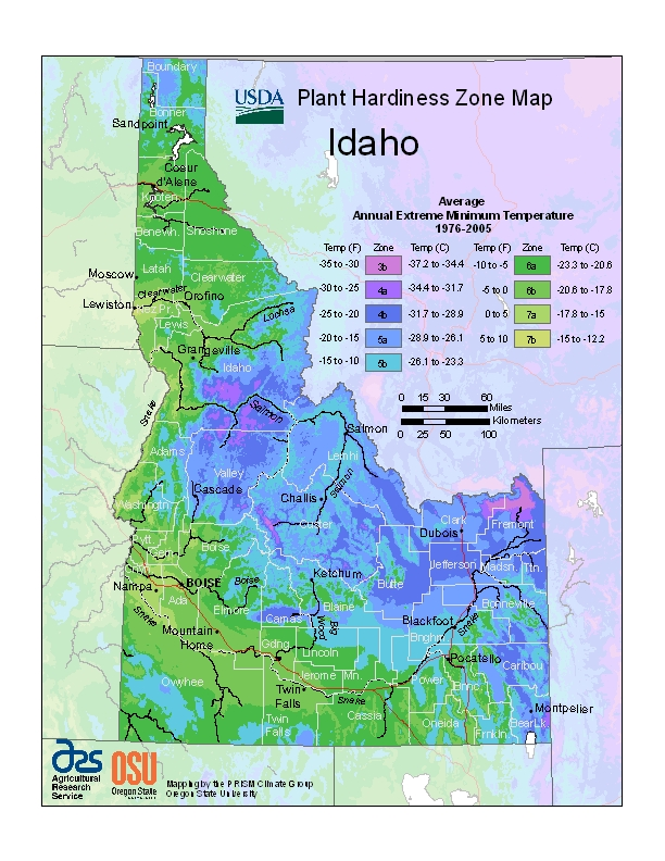 Idaho (ID) USDA Zone Map