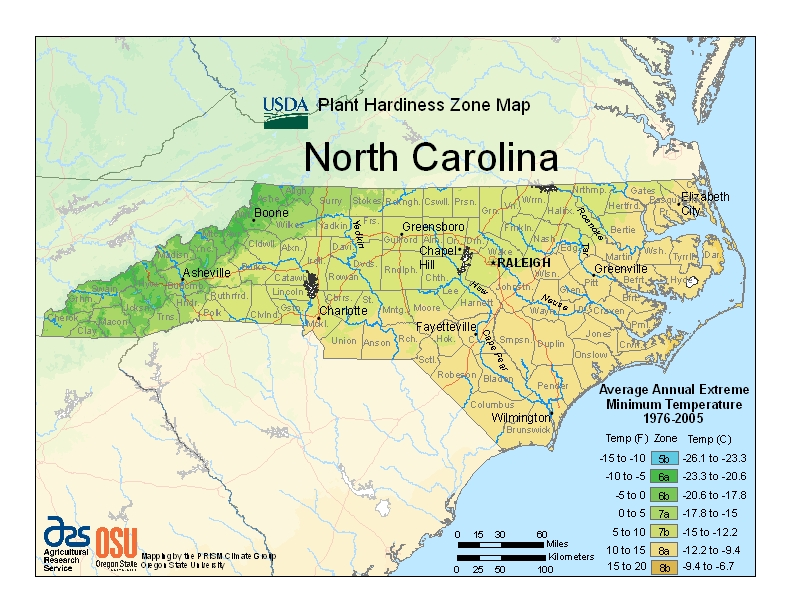 North Carolina (NC) USDA Zone Map