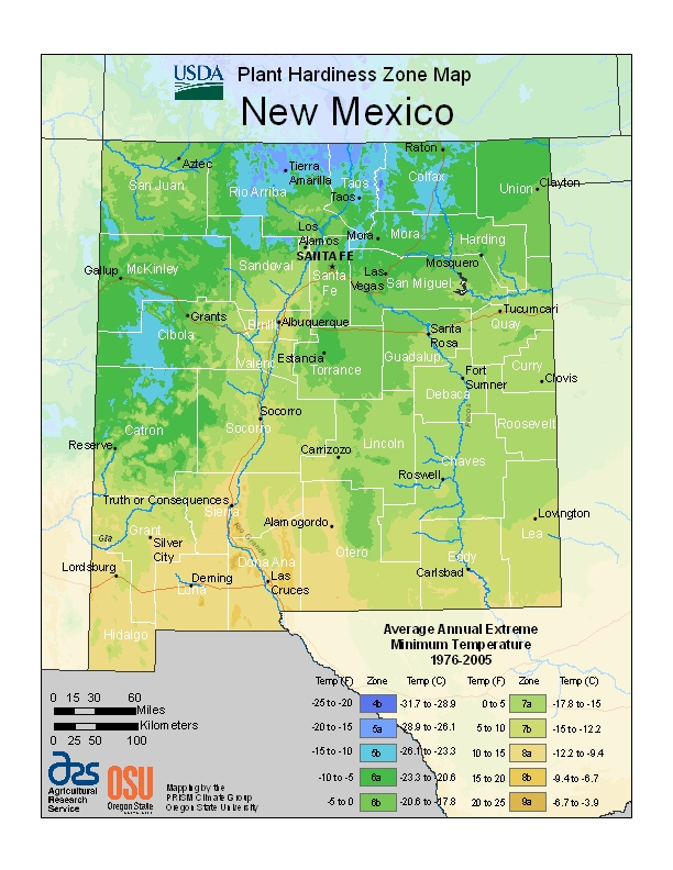 New Mexico (NM) USDA Zone Map
