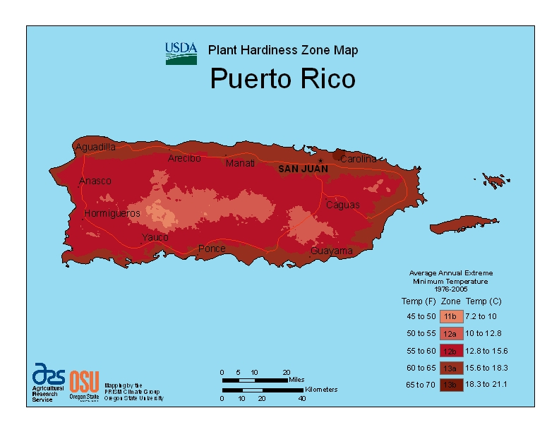 Puerto Rico USDA Zone Map