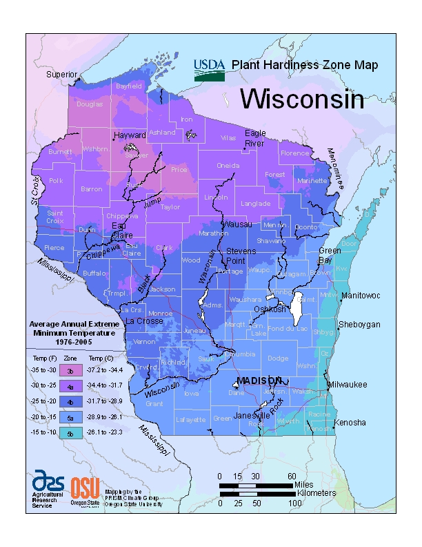 Wisconsin (WI) USDA Zone Map