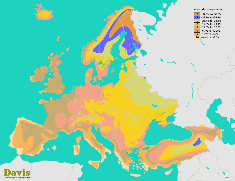 Europe (EU) Hardiness Zone Map