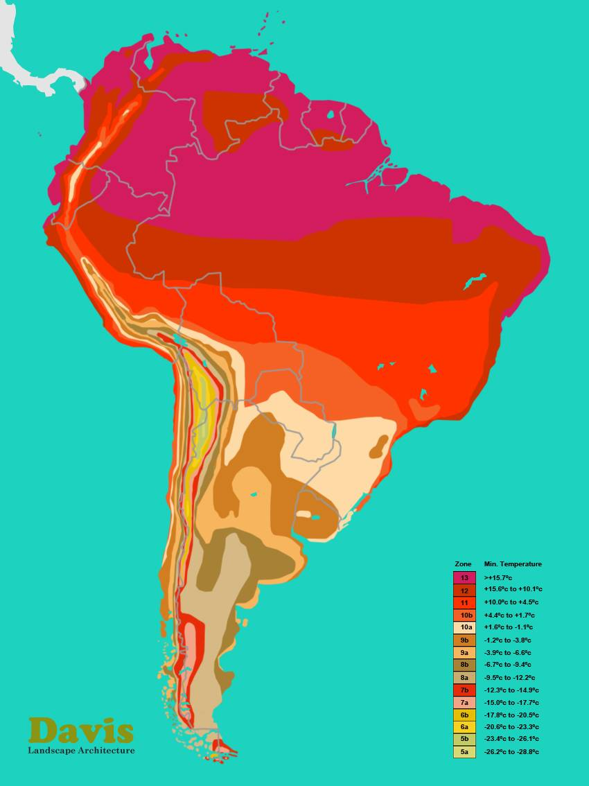 South America Hardiness Zone Map