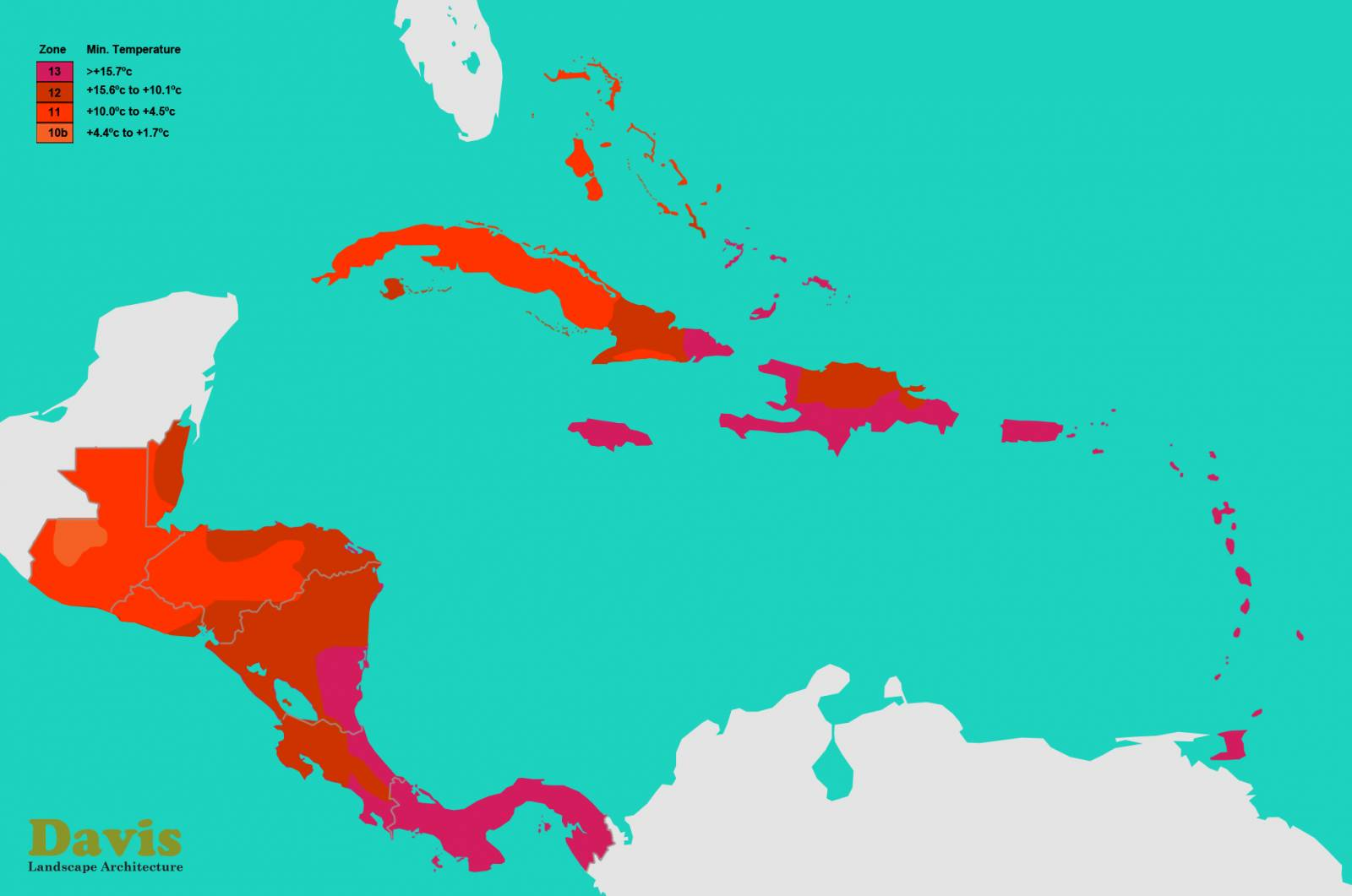 Central America and the Caribbean Plant Hardiness Zones